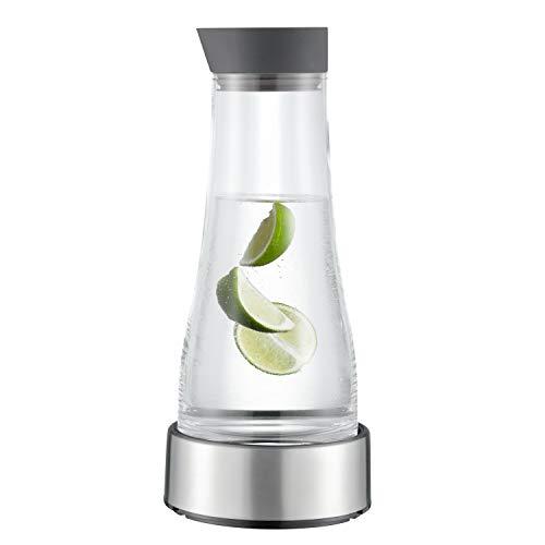 EPOS Glaskaraffe mit Kühlstation ca. 1 Liter - Deckelausgießer Silikon Farbe: anthrazit