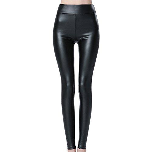 Mujer Leggins de Cuero Pantalones de Cuero Elásticos Leggins Piel de Moda Negro (XL)