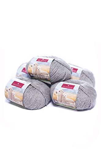 APU KUNTUR 100% Baby-Alpaka Wolle | Strick-Häkel-Garn weich, warm und kratzfrei | Vorteils- 5er-Pack | 100m, Nadel 4 | wunderschöne Farben zum angenehmen Stricken und häkeln | mittel-grau -