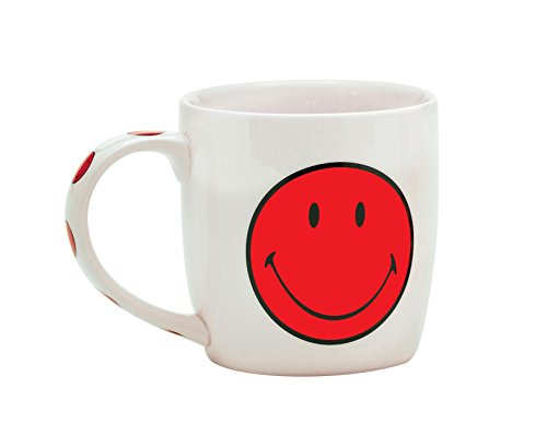 Zak Designs 6662-1596 Mug Porcelaine 35cl-Blanc/Smiley Grenadine, Rose, 10 x 10 x 13 cm