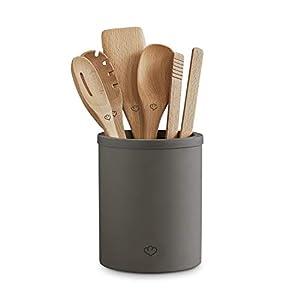 Küchenhelfer-Set Karlo aus Buchenholz, 6-tlg. inkl. Kochlöffel, Kochzange, Pfannenwender, Nudelschöpfer, Beton Küchenutensilien-Halter