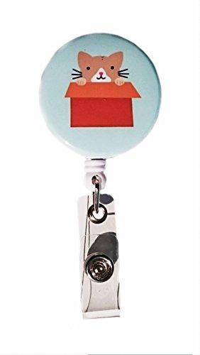 Katzen in Boxen Retractable Badge Reel ID Badge Holder Tan & White Tan-box