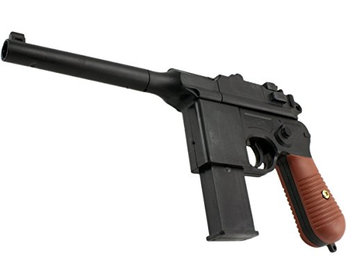 B.W. GYD Weltkrieg Mauser C96 1:1 Pistole Softair Airgun Gewehr Magazin Federdruck 0,5 Joule (96/303Gold) (Paintball Guns Gold)
