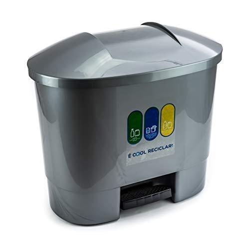 Bittamina Cubo de Basura 50 litros con 3 Compartimentos para Reciclaje Color Gris.