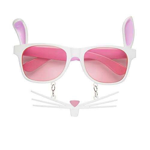 Widmann 0319B Bunny Brille mit Schnurrbart, Unisex- Erwachsene, Weiß, One Size