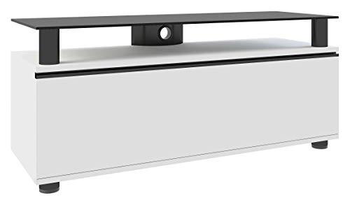VCM 14240 Clano Meuble TV avec Porte Pliante + Roulettes Incluses MDF/Aluminium/Verre Laqué Blanc/Noir