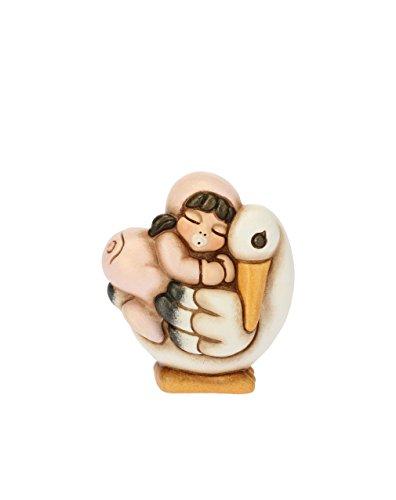 Thun bimba a cavallo della cicogna, ceramica, h 6,2 cm