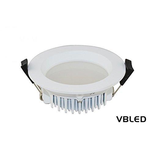 VBLED® Flaches Design 13W LED Einbaustrahler / Decken-Einbauleuchte, IP44 Spritzwassergeschützt, 3000K Warm-Weiß, dimmbar, 230V (Rund)