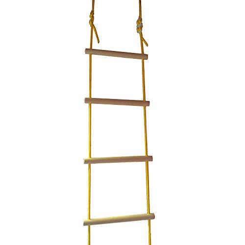Strickleiter, Holzsprossen, TÜV/GS geprüft, für Indoor & Outdoor, für Kinder und Erwachsene, belastbar bis 80 kg, 4 m