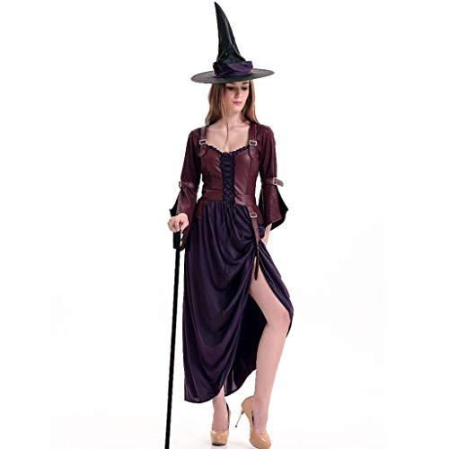 Bearbelly - Damen Mittelalterliche Vampirin Kostüm Kleid mit Hut,Mittelalter Kleid bodenlangen Cosplay Dress Age Mittelalter Kleidung Renaissance Kostüm Lang Halloween Kostüm (Mittelalterliche Joker Kostüm)
