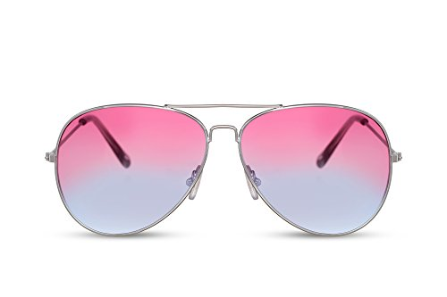 Cheapass Piloten-Sonnenbrille Silber-n Getönt-e Linsen Festival-Brille Gradient Pink bis Violett Verlaufsgläser UV-400 Metall Damen Frauen