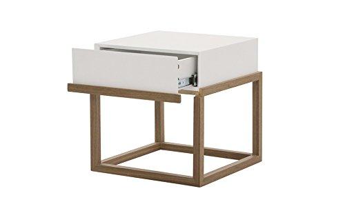 designement Wacim Table D'appoint Laqué Blanc 39.6 x 39.6 x 40.5 cm