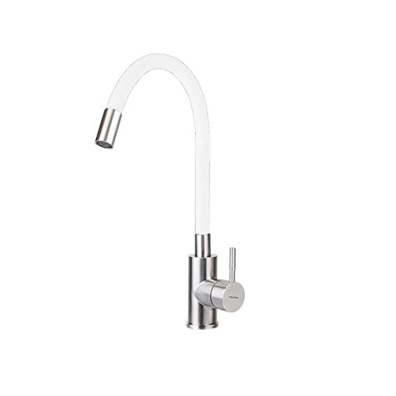 Aquieen White Brushed Nickel Polish Table Mounted Wash Basin Mixer / Kitchen Sink Mixer with Flexible Spout & Provision for Hot & Cold Water with 450 mm connecting hoses, base flange and installation kit.