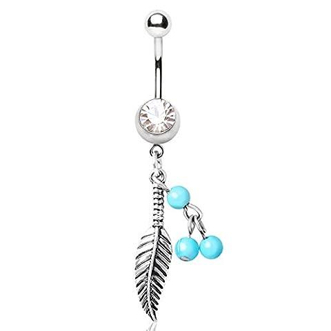 piercing nombril plume pendant aile strass perle bleu aqua turquoise bijou