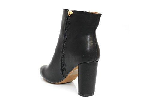 Damen Schwarz Blockabsatz Reißverschluss Fashion Stiefelette Größe UK 3–8 Schwarz