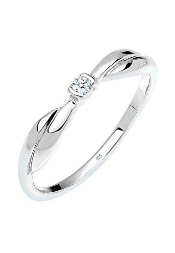 Diamore Damen-Ring Verlobungsring 925 Silber Diamant (0.03 ct) weiß Brillantschliff Gr. 56 (17.8) - 0605160213_56
