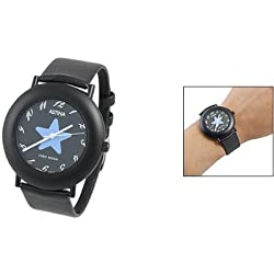 sourcingmap® Ladies Black Perforated Band Round Star Dial Watch
