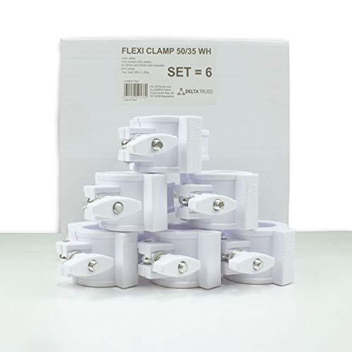 FLEXI CLAMP Set (6 Stück) - Kunststoff-Klammer f. Traversen, Half-Coupler 50/35mm … (weiss)