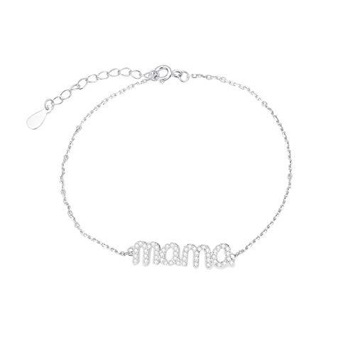 Pulsera de plata de ley 925, para mujer, madre, mamá, letra inicial personalizable, con eslabón de cadena ajustable, set de collares