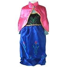La Senorita Anna Frozen Vestido Princesa Niña + Frozen collar GRATUITO (9-10 años - 150, azul)
