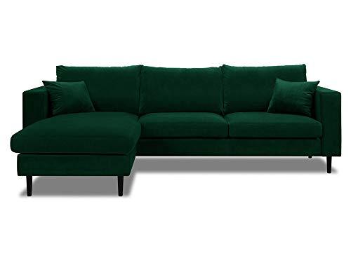 Dlm design delamaison divano angolare reversibile in velluto con cuscini sfoderabili graham verde
