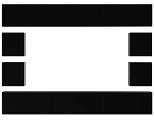 HomeDirectLTD Future 17 Moderne Wohnwand, Exklusive Mediamöbel, TV-Schrank, Neue Garnitur, Große Farbauswahl (Schwarz MAT Base/Schwarz HG Front)