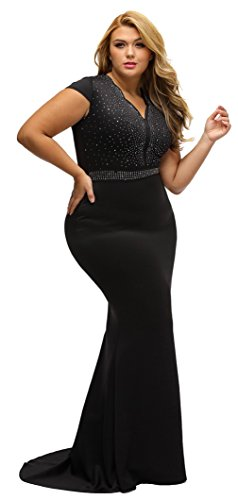 La vogue Damen mit Diamant Festkleid Abendkleid Plus Size Schwarz