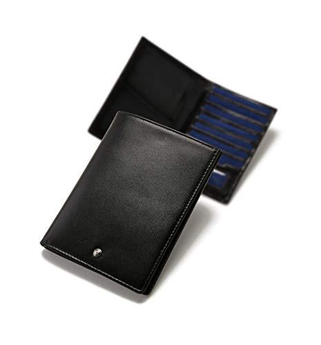 Black Leder Passport Wallet - ECHTHIRSCH Passport-Hülle Reisepass-Etui Organizer Geldbeutel Karten-Etui