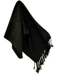 Superbe Uni Pashmina Écharpe Noir - 9 couleurs