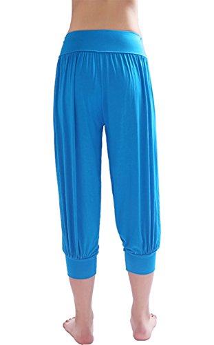 HOEREV® Frauen-Super Soft Modal Spandex Harem Yoga Pilates Capri Hose Blau
