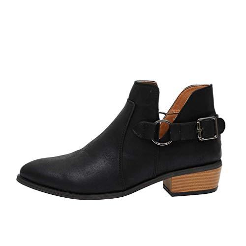 Stiefeletten Damen Chelsea Boots Ankle Leder Blockabsatz Kurzschaft Stiefel 5Cm Absatz Schuhe Winter Elegant Schwarz Weiß Gr.35-43 BK42
