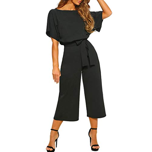 """Été Combinaison Femme Chic Pour Soirée Manhces Courtes Taille Haute,OverDose Soldes Élégant Mode Pantalon Droite Jumpsuit avec Ceinture  TAILLE:Size:36 Bust:95CM/37.4"""" Sleeve:28CM/11.0"""" Waist:64-85CM/25.2-33.5"""" Hip:99CM/39.0"""" Length:147CM/57.9'' Size..."""