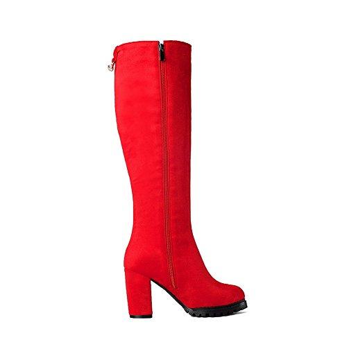 VogueZone009 Donna Tacco Alto Alta Altezza Puro Cerniera Stivali con Metallo Rosso