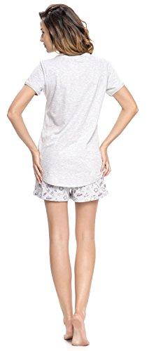 dn nightwear Damen Schlafanzug PM.9013 Grey Melange