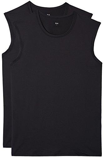 Find. top sportivo senza maniche uomo (pacco da 2), nero, large