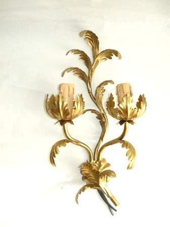 arterameferro Wandleuchte aus Schmiedeeisen Gold Blatt Akanthus A 2flammig Wohnzimmer Esszimmer - Akanthus-blatt -