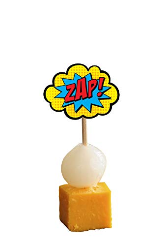 31H8tyNKlnL - AK Giftshop Call out Speak - Burbujas de Dibujos Animados de superhéroes para cumpleaños, Eventos, Comida para Fiestas, Cupcakes, Palillos y Decoraciones para Banderas de Alimentos (Pack de 14)