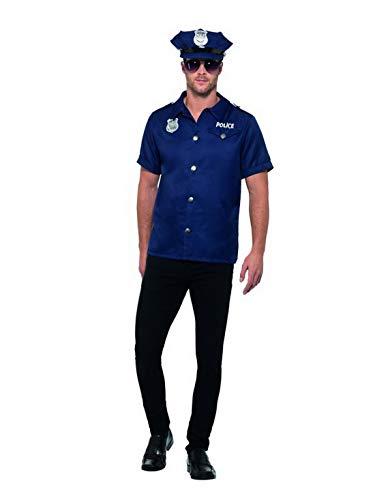 Männer US Cop Polizei Polizist Kostüm mit Shirt Mütze und Sonnenbrille, perfekt für Karneval, Fasching und Fastnacht, L, Blau ()