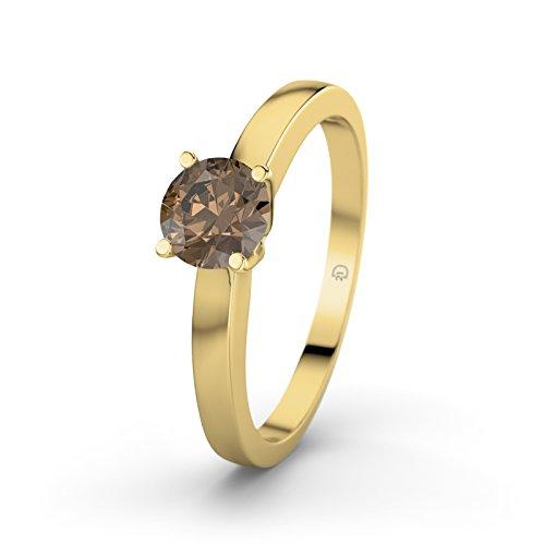 Damen-Ring Verlobungsring Arabella 21Premium mit Rauchquarz Brillantschliff, 18 Karat (750) Gelbgold Gr.60 (19.1) Verlobungsringe, 21Diamonds