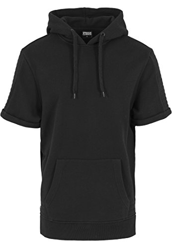 Urban Classics Herren Sweatshirt Kapuzenpulli Short Sleeve Side Zipped Hoody schwarz (Schwarz) Small (Shorts Side Zip)
