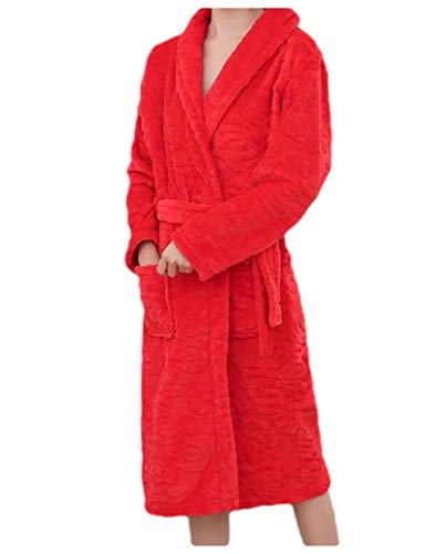 CuteRose Women Fall Winter Wrap Towels Flannel Lounger Kimono Robe Red S (Snap Spa Wrap)
