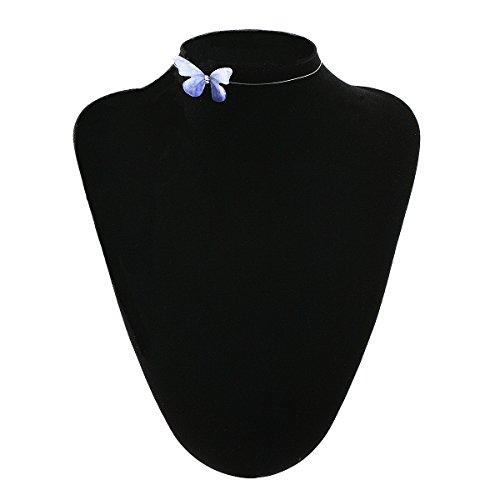 Tpocean Mehrfarbig handgefertigt Schmetterling Charm Choker Seide Morpho Schmetterling Kurze Clavicle Kette Halsketten Strass Anhänger Frauen Mädchen Damen Natur Schmuck (Blau (Zum Alien Verkauf Kostüme)