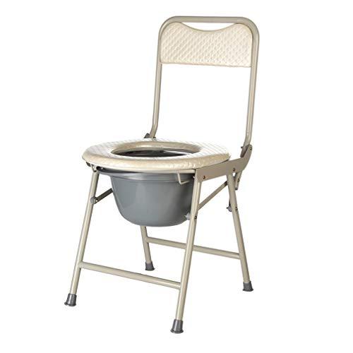 Toilettenstuhl Faltbarer Toilettensitz,Verdickung des Toilettenstuhl aus Edelstahl Weiches Kissen und Rückenlehne-Komfortabler,Tragbarer Toilettenstuhl für Erwachsene - Verdickung Verlassen