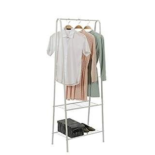 Home-Like 2-Tier Garment Rack Black Metal Closet Freestanding Rack Coat Rack Shoes Clothes Stand Storage Organization Shelves Laundry RackHeavy Duty Drying Rack 61x38.5x160cm (White)