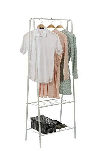 Home-Like Perchero de hierro Colgador para ropa Zapatero con 2 estantes de metal para organizar la ropa estantes de lavandería estante de secado resistente blanco 61 x 38,5 x 160 cm