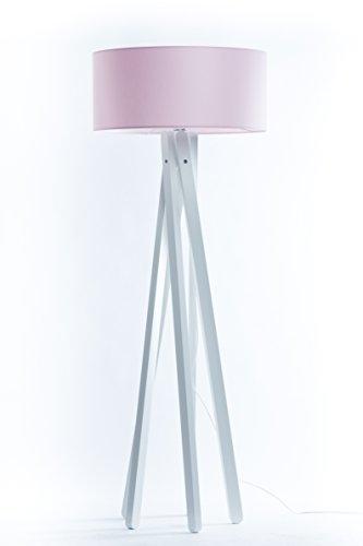 Hochwertige Design Stativ Stehlampe | Studiolampe mit Stoffschirm aus Chintz in rosa und Stativ/Gestell aus Holz Echtholz Weiß | H= 160cm | Stehleuchte | Handgefertigte Leuchte