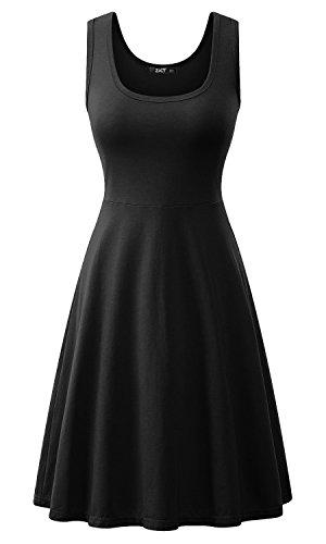 Baumwoll-basics Kleid (ZJCTUO A Linie Kleider Ärmellos Rundhals Kurz Basic Kleid(38,Schwarz))