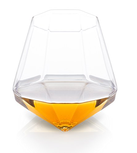 Thumbs up! diamond glass bicchiere da whisky, vetro, trasparente, 9x9x9 cm