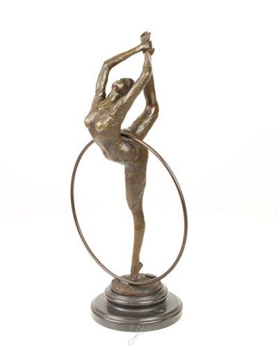Bronzefigur Skulptur Figur Hula Hoop Tänzerin auf Sockel 39,5 cm