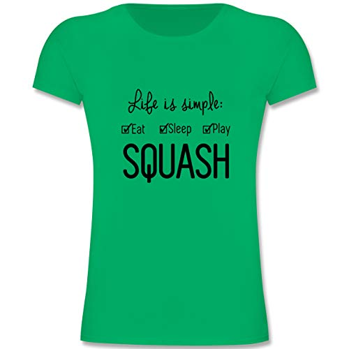 Sport Kind - Life is Simple Squash - 164 (14-15 Jahre) - Grün - F131K - Mädchen Kinder T-Shirt